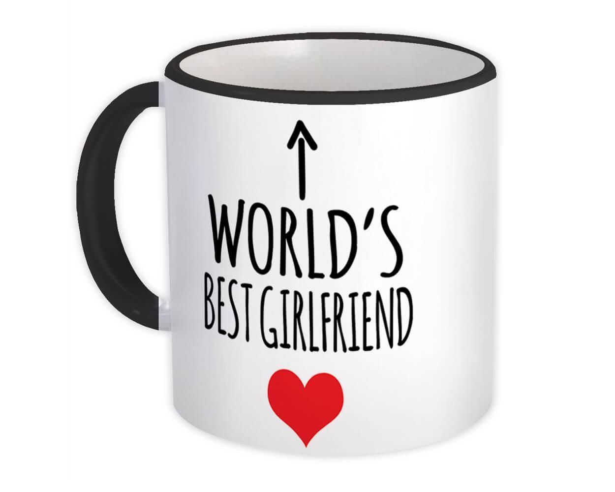 Worlds Best GIRLFRIEND : Gift Mug Heart Love Family Work Christmas Birthday