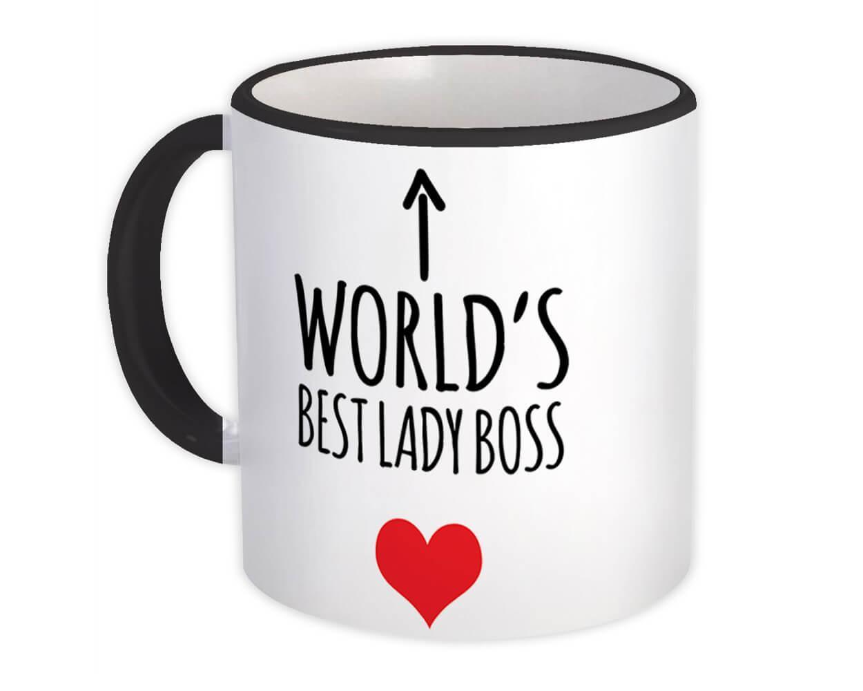 Worlds Best LADY BOSS : Gift Mug Heart Love Family Work Christmas Birthday