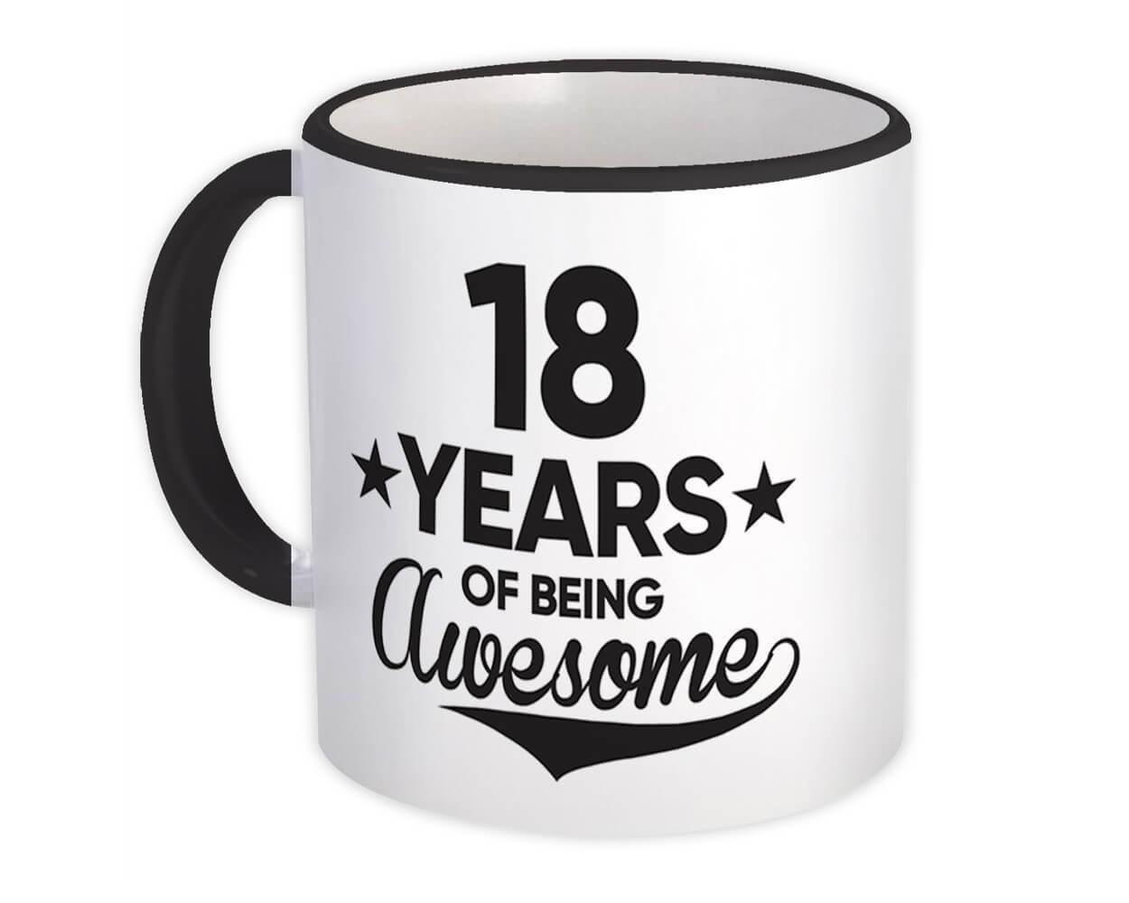 18 Years of Being Awesome : Gift Mug 18th Birthday Baseball Script Happy Cute