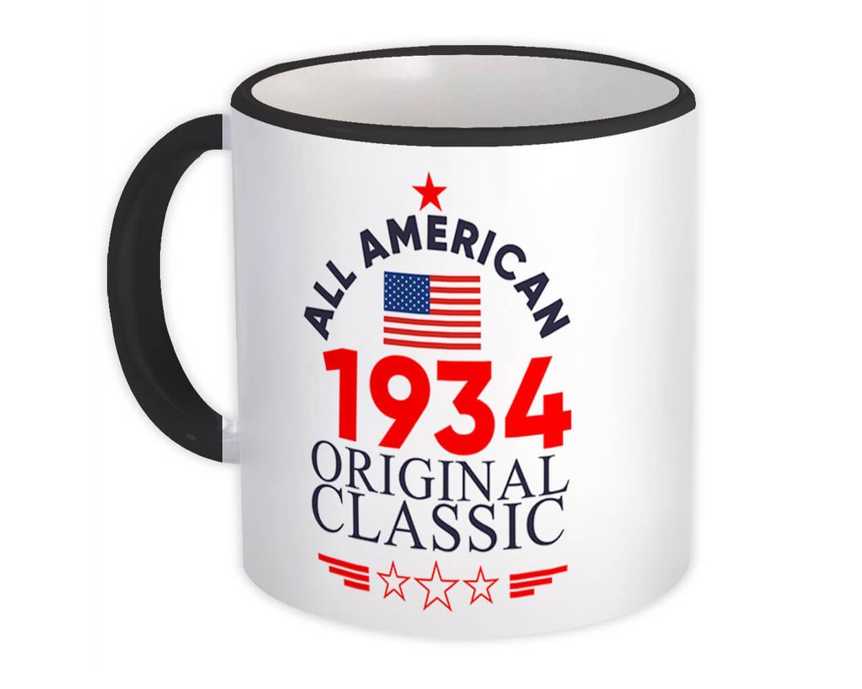 1934 Birthday : Gift Mug All American Original Classic Flag Patriotic Age USA