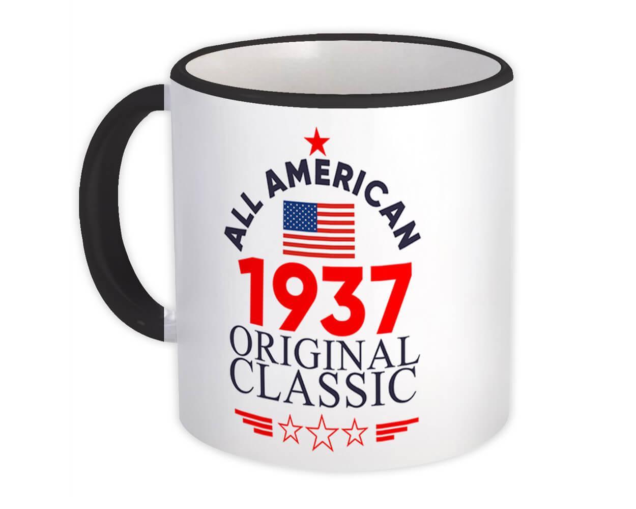 1937 Birthday : Gift Mug All American Original Classic Flag Patriotic Age USA