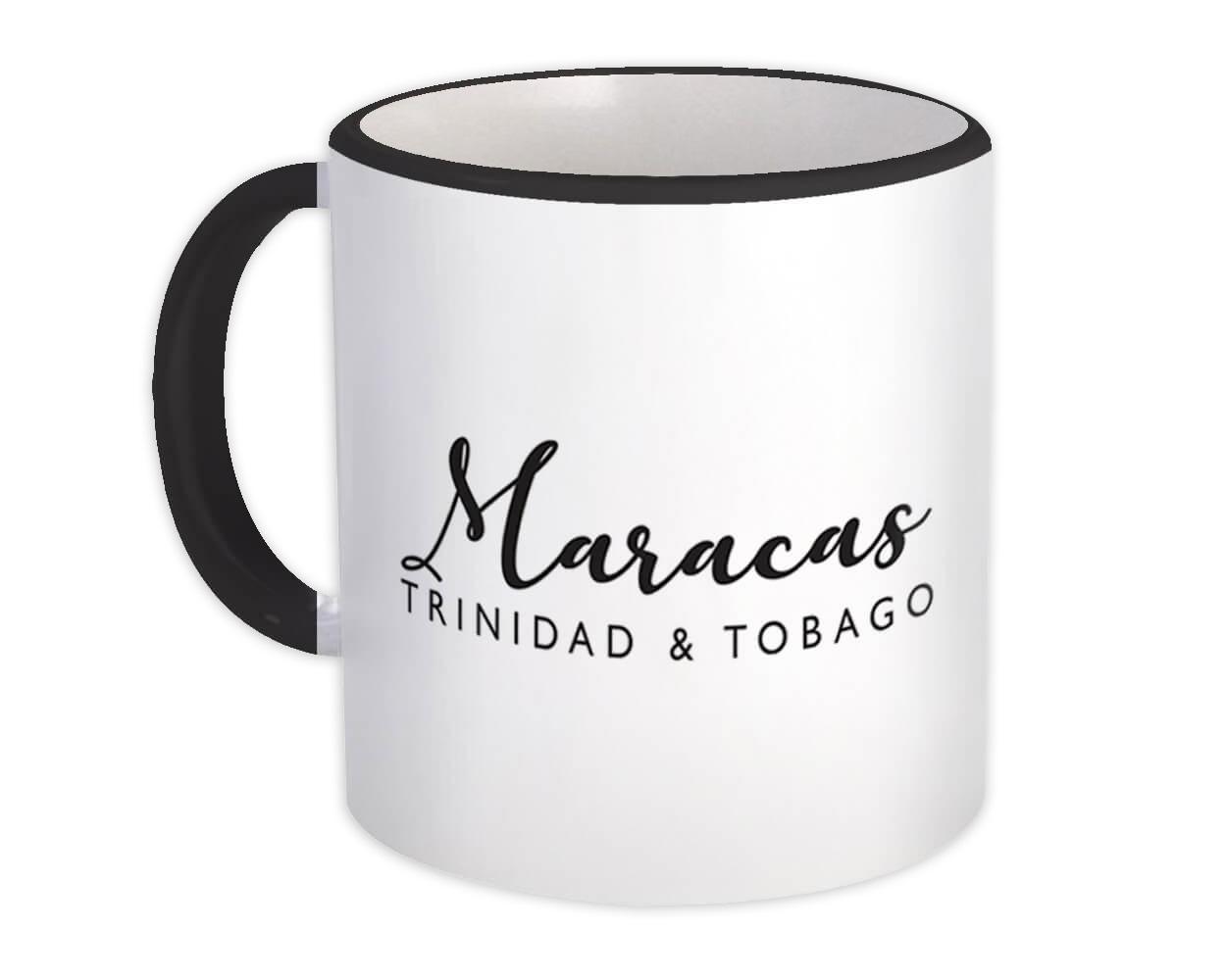 Maracas : Gift Mug Cursive Typography Trinidad & Tobago Tropical Beach Travel