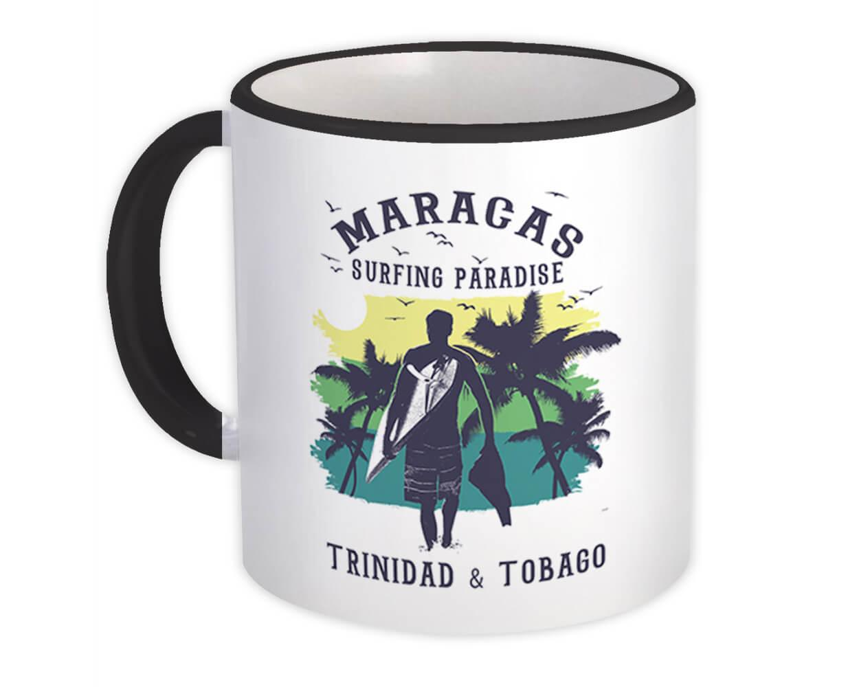 Maracas Trinidad & Tobago : Gift Mug Surfing Paradise Beach Tropical Vacation