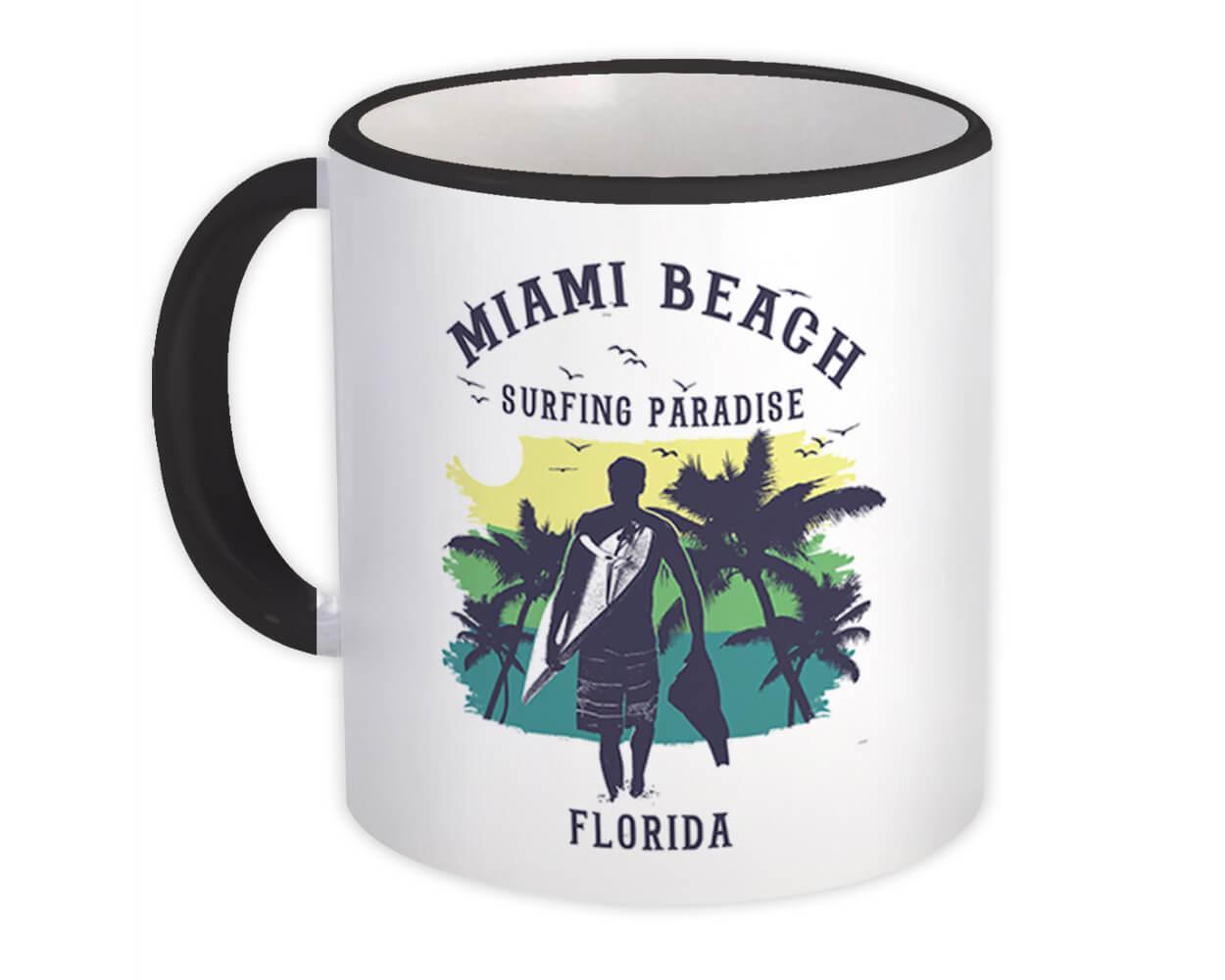 Miami Beach USA : Gift Mug Surfing Paradise Beach Tropical Vacation