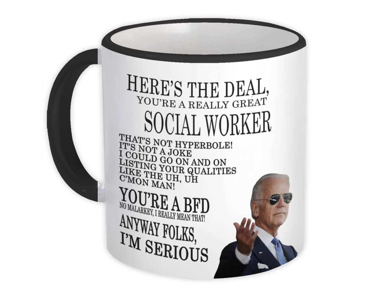 Gift for SOCIAL WORKER Joe Biden : Gift Mug Best SOCIAL WORKER Gag Great Humor Family Jobs Christmas President Birthday