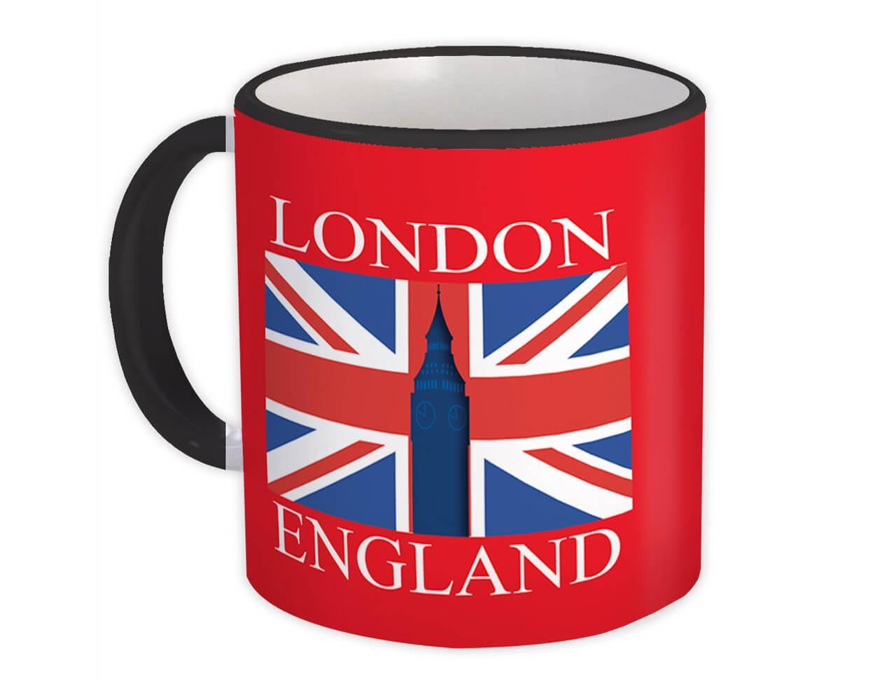 London England : Gift Mug Flag Country British Big Ben Tower Bridge