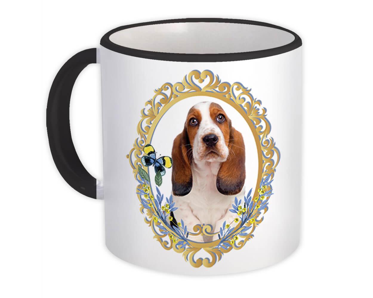 Basset on Frame : Gift Mug Butterfly Pet Dog Animal Canine Pets Dogs