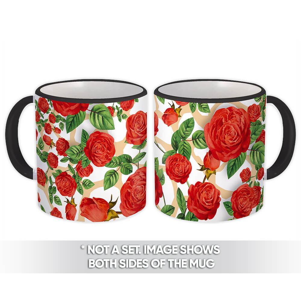 Red Roses : Gift Mug Flower Garden Pattern For Her Floral