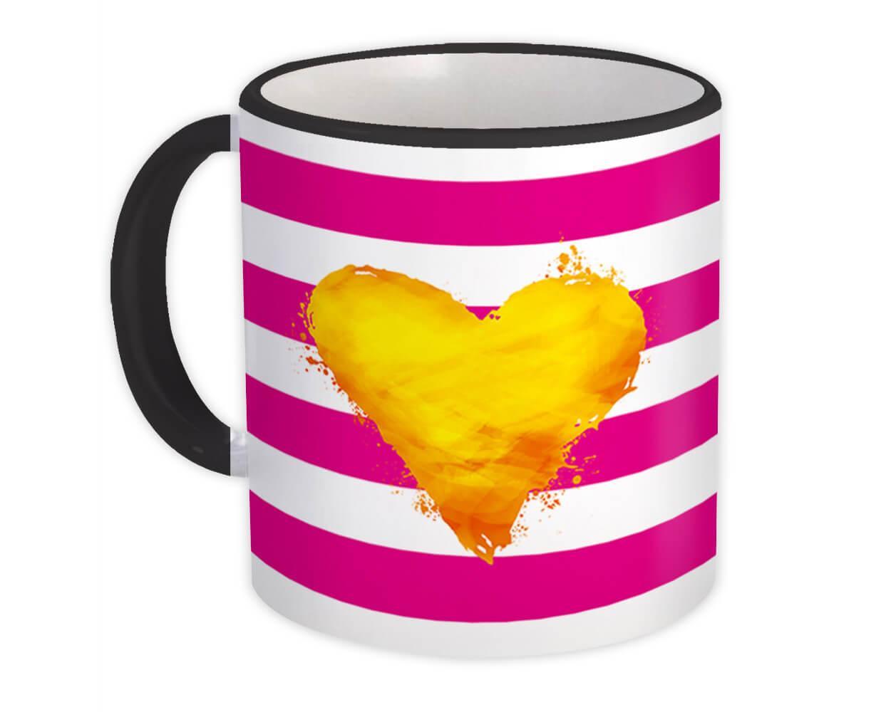 Stripe Gold Heart : Gift Mug Cute Decor Modern Pastel Super Chic Valentines Day