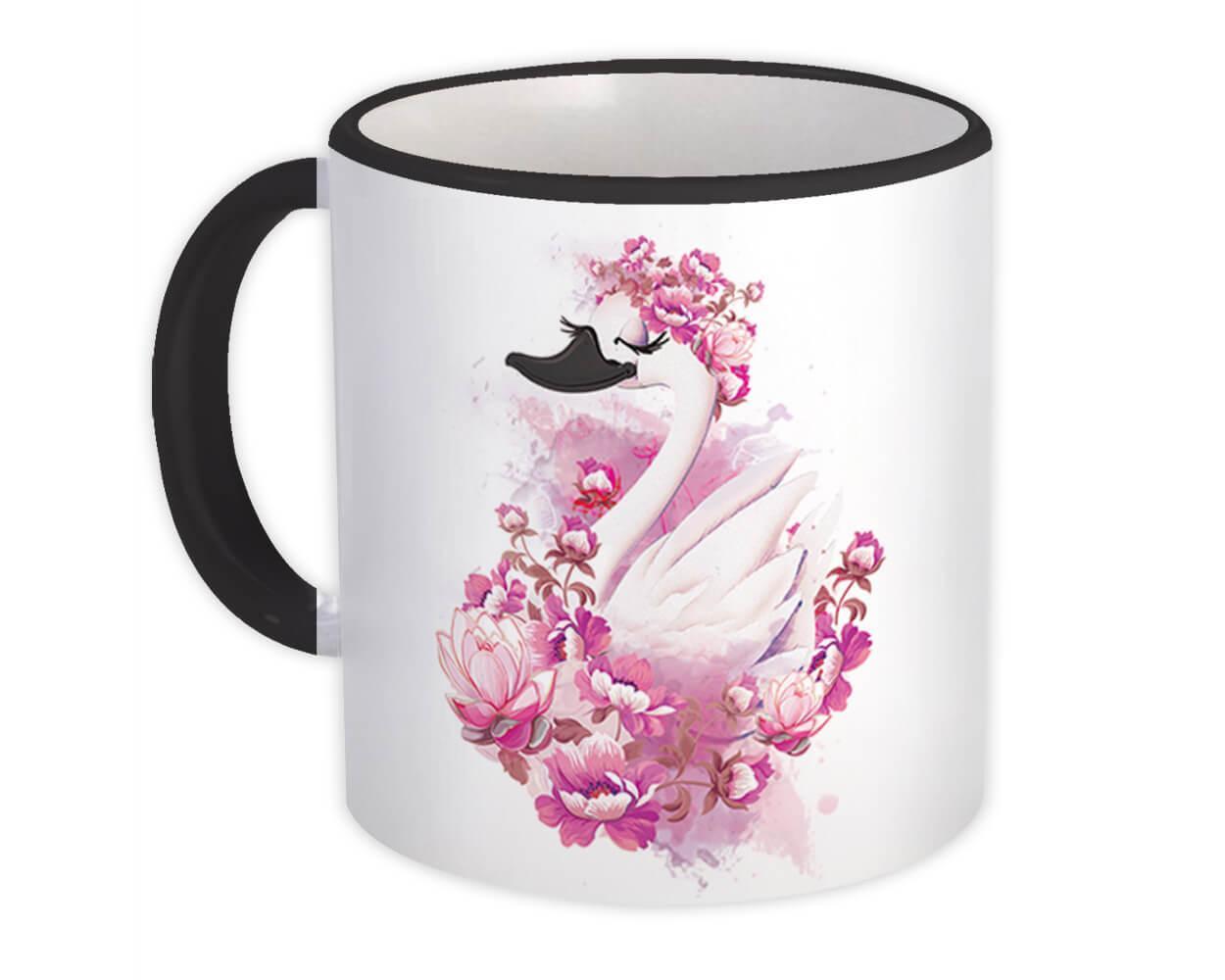 Swan Flowers : Gift Mug Bird Wedding Engagement Anniversary Floral