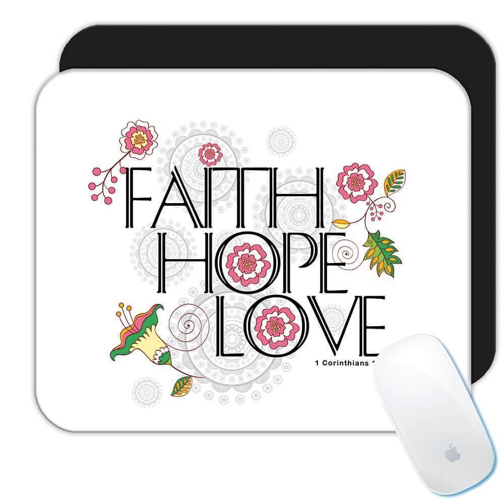 Faith Hope Love : Gift Mousepad Christian Religious Catholic Jesus God