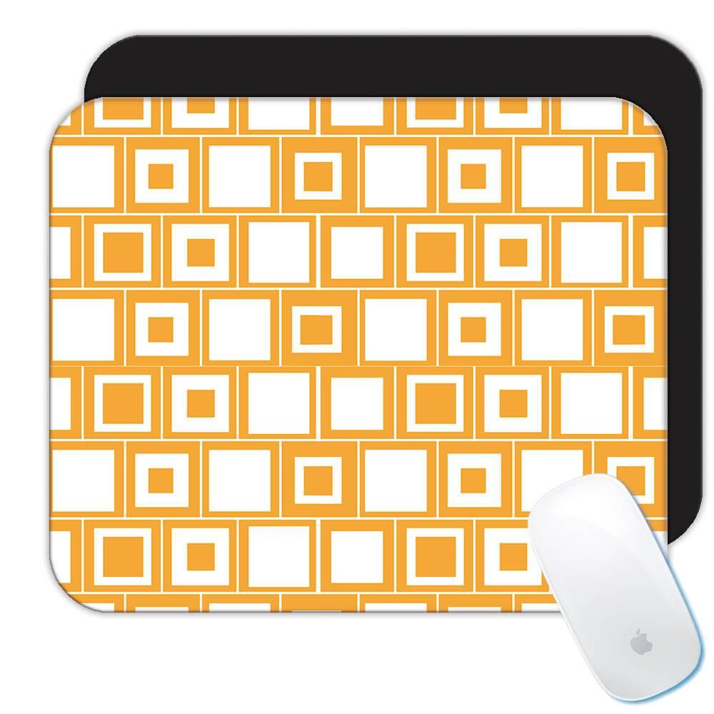 Yellow Square Pattern : Gift Mousepad Abstract Scandinavian Decoration