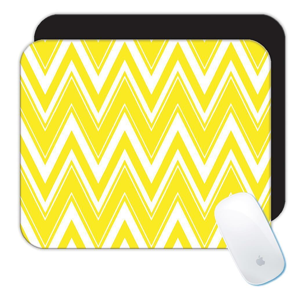Yellow and White Chevron : Gift Mousepad Abstract Scandinavian Decoration