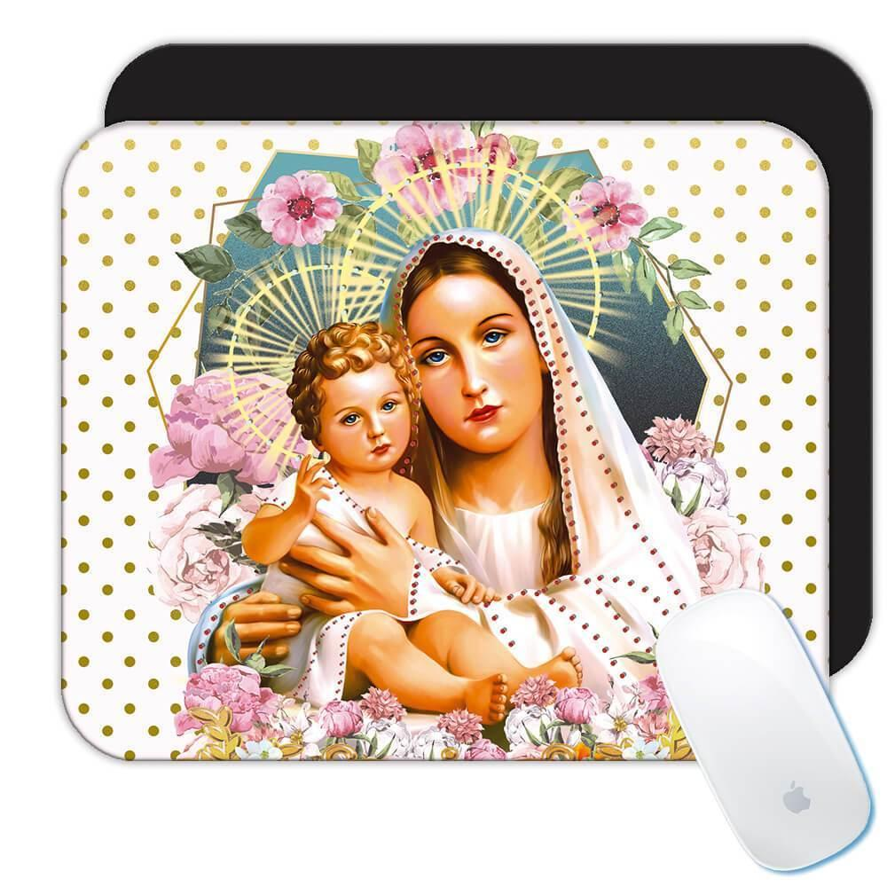 Our Lady Mary with Baby Jesus : Gift Mousepad Catholic Virgin Mary Mother of God Religious