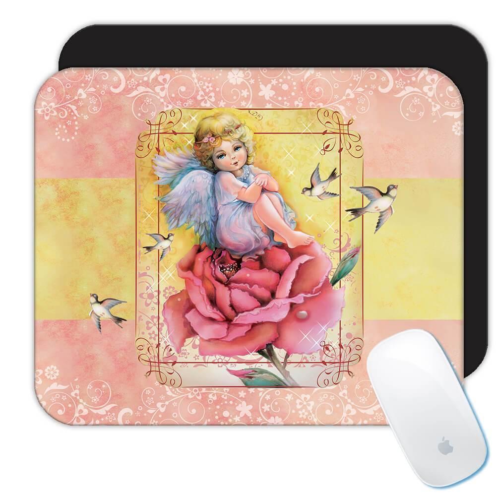 Angel Rose Birds : Gift Mousepad Catholic Religious Esoteric Victorian