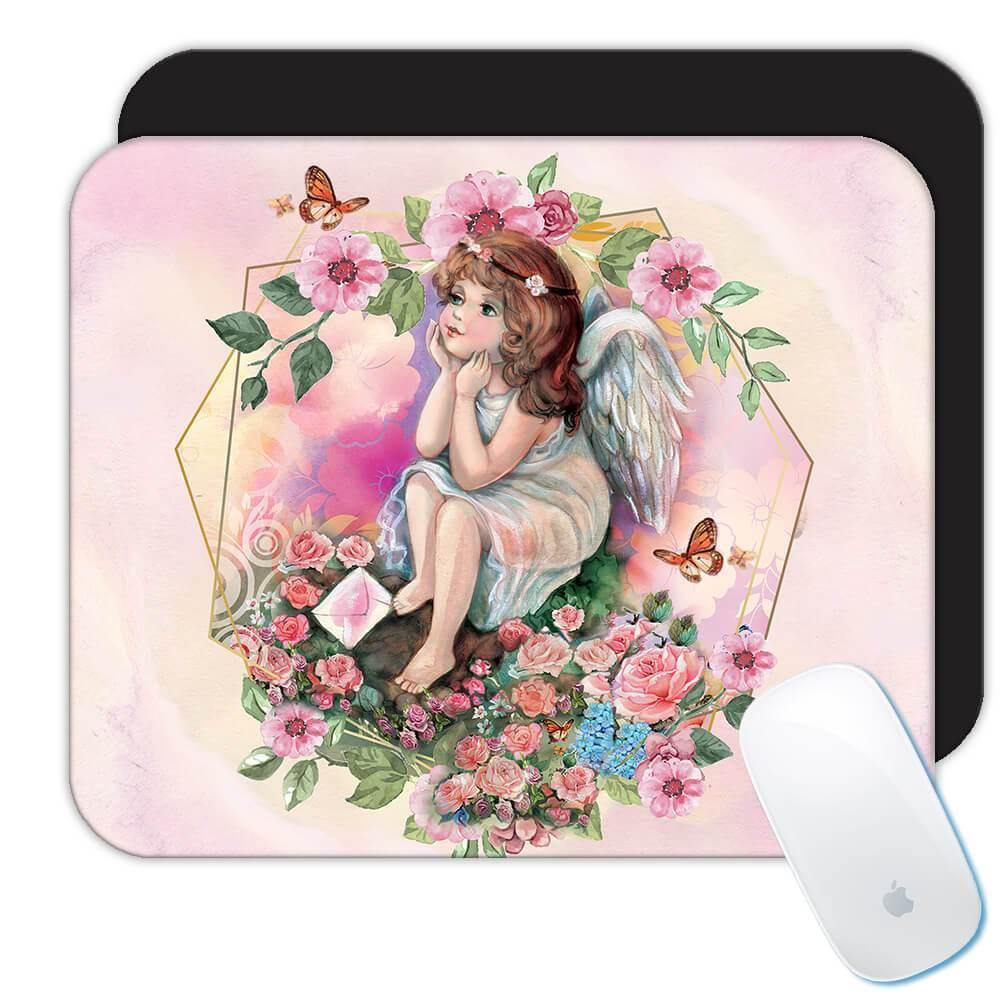 Angel Butterfly Flowers : Gift Mousepad Catholic Religious Esoteric Victorian