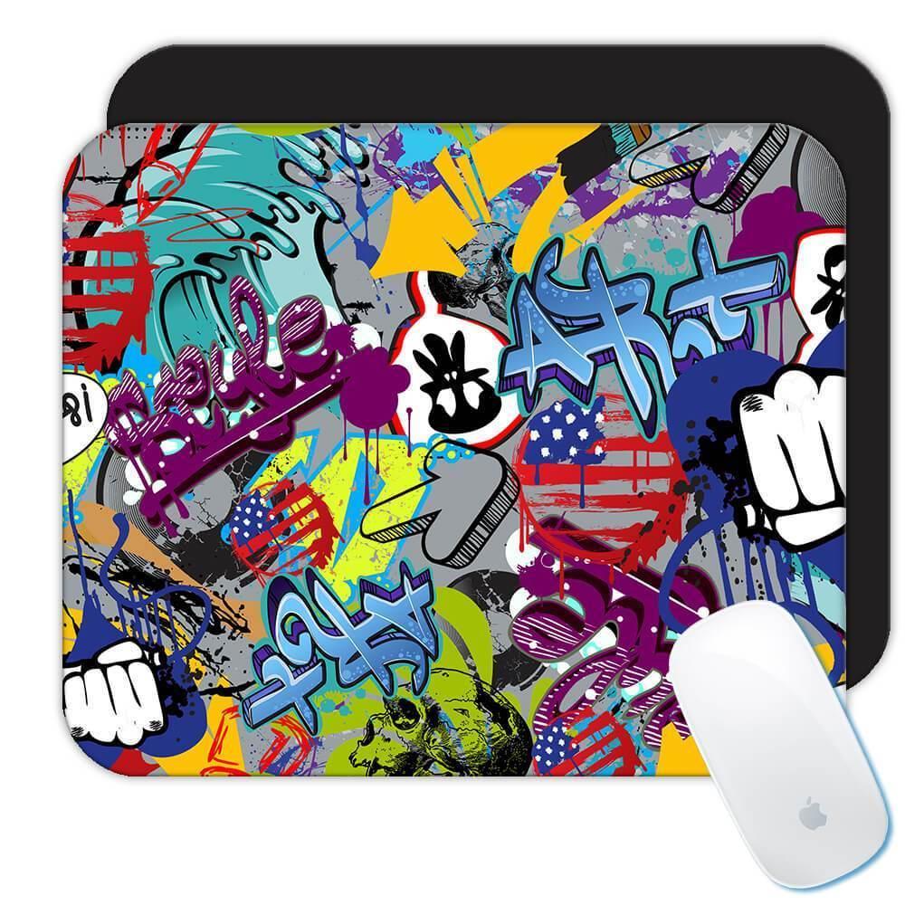 Grafitti Sticker Bomb : Gift Mousepad Pattern Decal Wrap Around