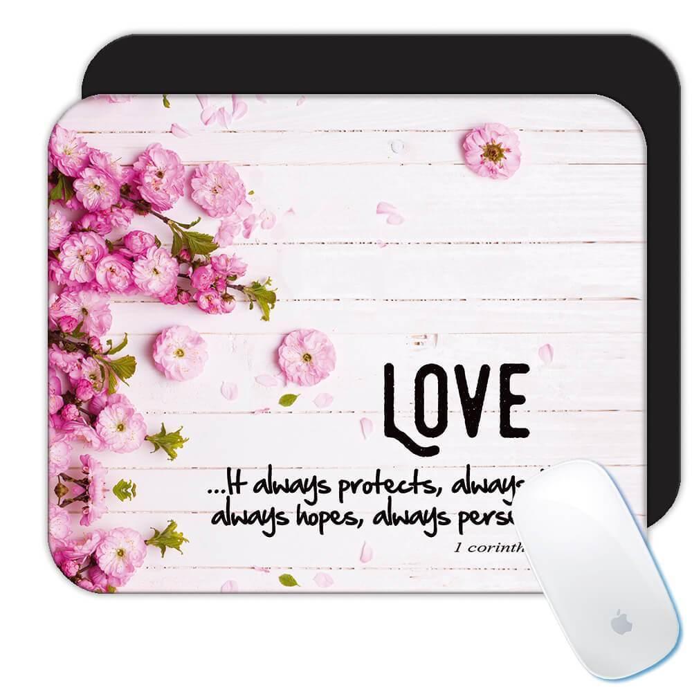 Love 1 Corinthians : Gift Mousepad Christian Religious Catholic Jesus Floral flowers
