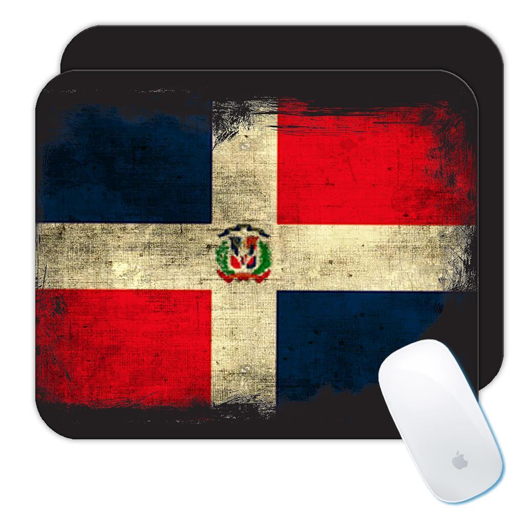 Dominican Republic : Gift Mousepad Distressed Flag Vintage Dominican Expat Country