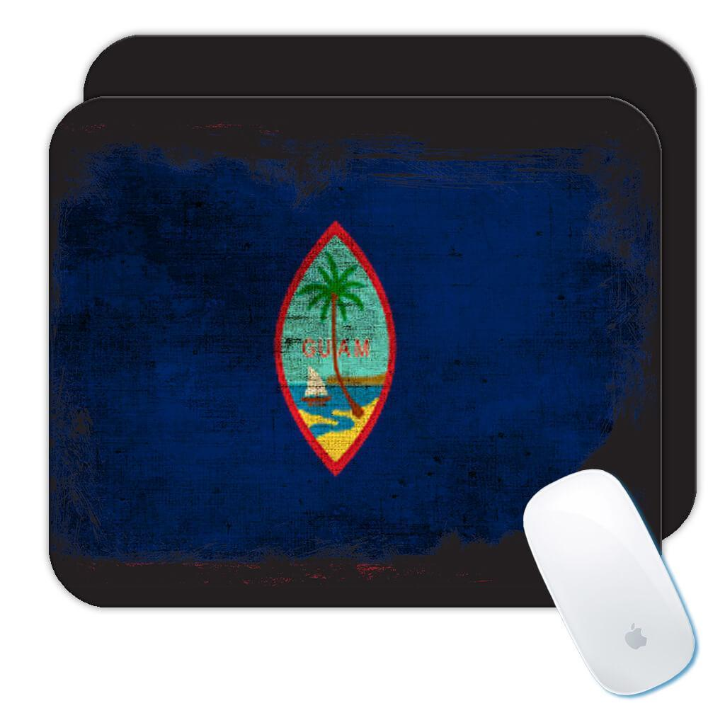 Guam : Gift Mousepad Distressed Flag Vintage Guamanian Expat Country