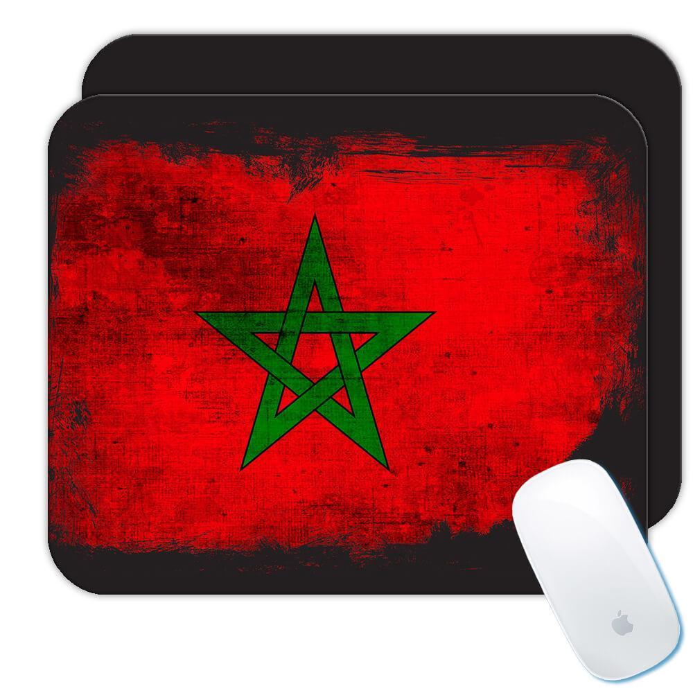 Morocco : Gift Mousepad Distressed Flag Vintage Moroccan Expat Country