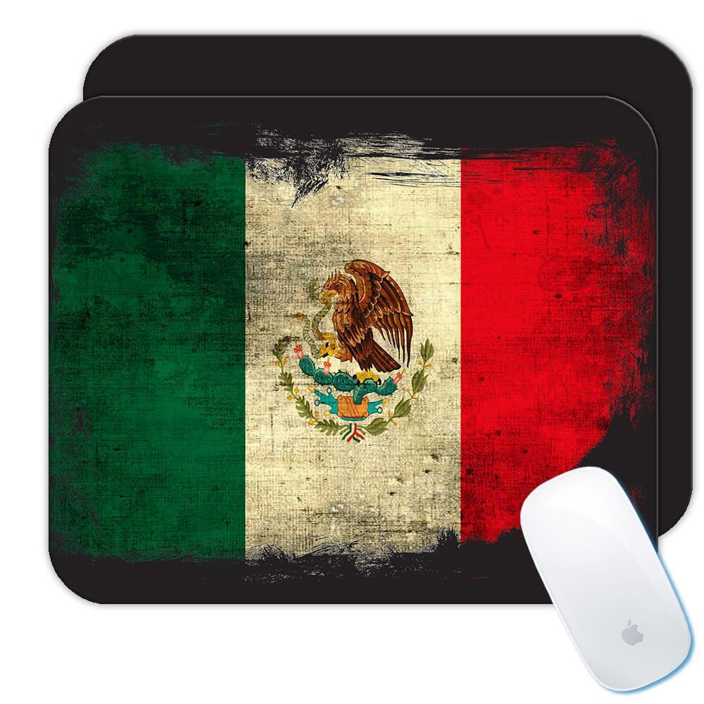 Mexico : Gift Mousepad Distressed Flag Vintage Mexican Expat Country