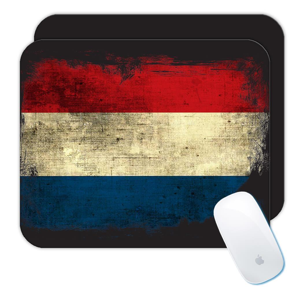 Netherlands : Gift Mousepad Distressed Flag Vintage Dutch Expat Country