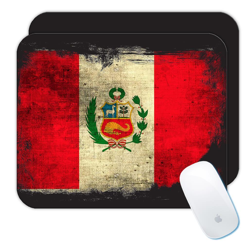 Peru : Gift Mousepad Distressed Flag Vintage Peruvian Expat Country