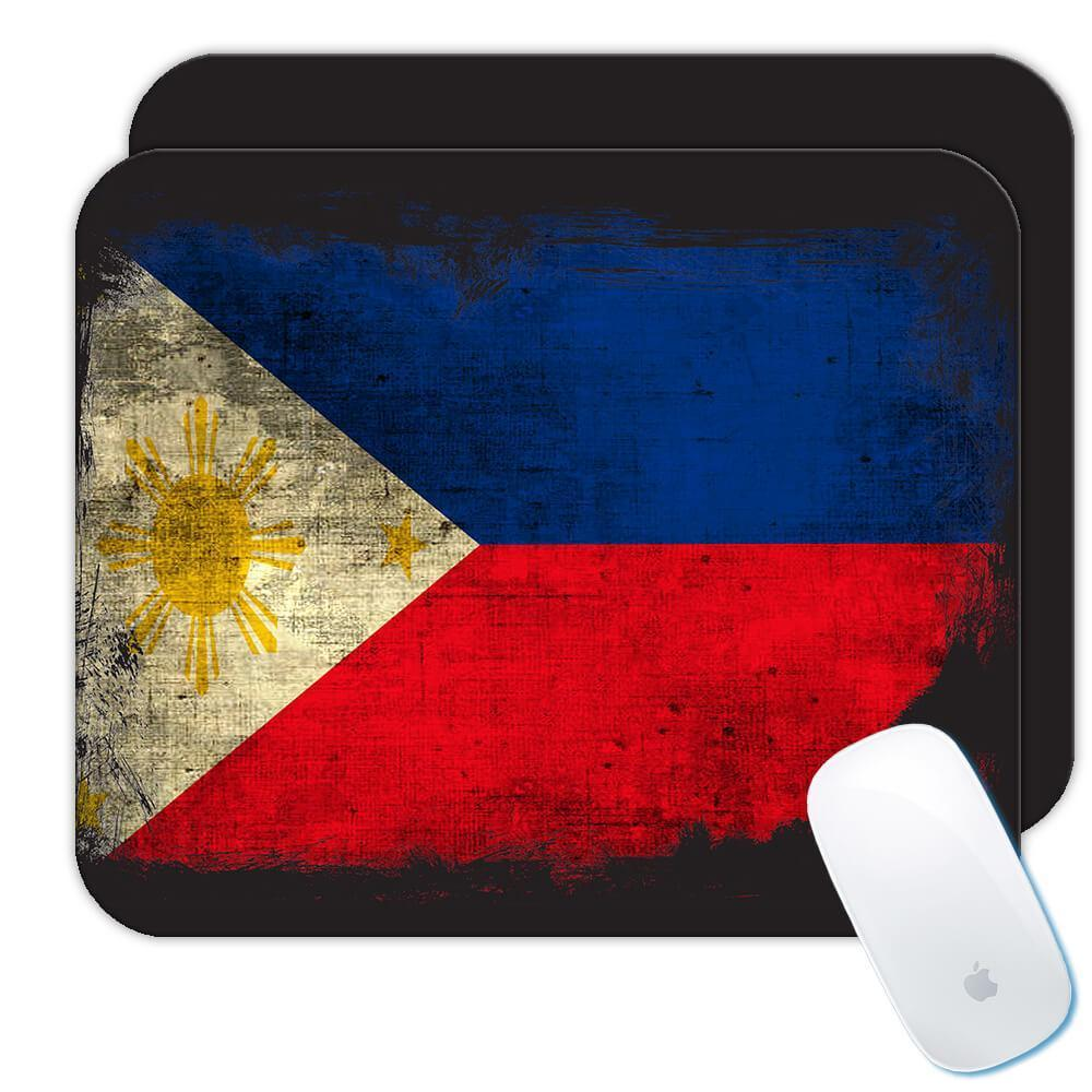 Philippines : Gift Mousepad Distressed Flag Vintage Filipino Expat Country