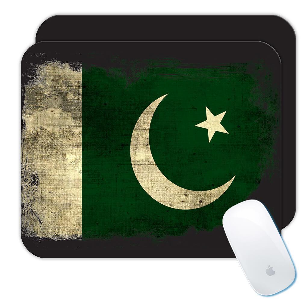 Pakistan : Gift Mousepad Distressed Flag Vintage Pakistani Expat Country