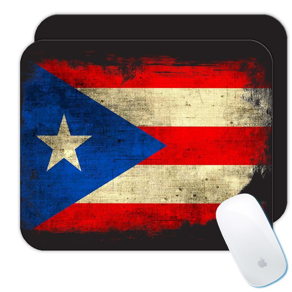 Puerto Rico : Gift Mousepad Distressed Flag Vintage Puerto Rican Expat Country