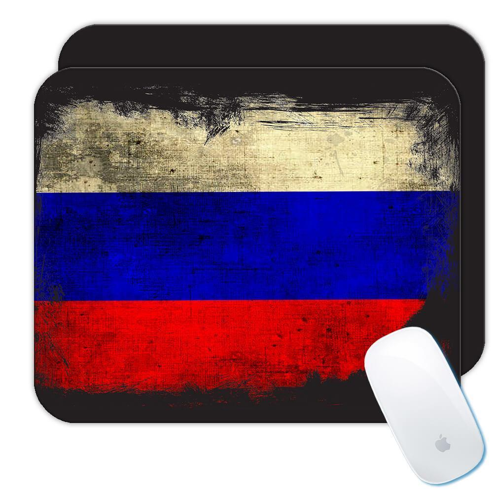 Russia : Gift Mousepad Distressed Flag Vintage Russian Expat Country