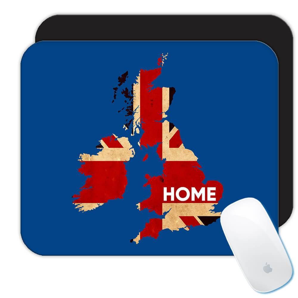United Kingdom Map HOME : Gift Mousepad British England Flag Expat Country Souvenir