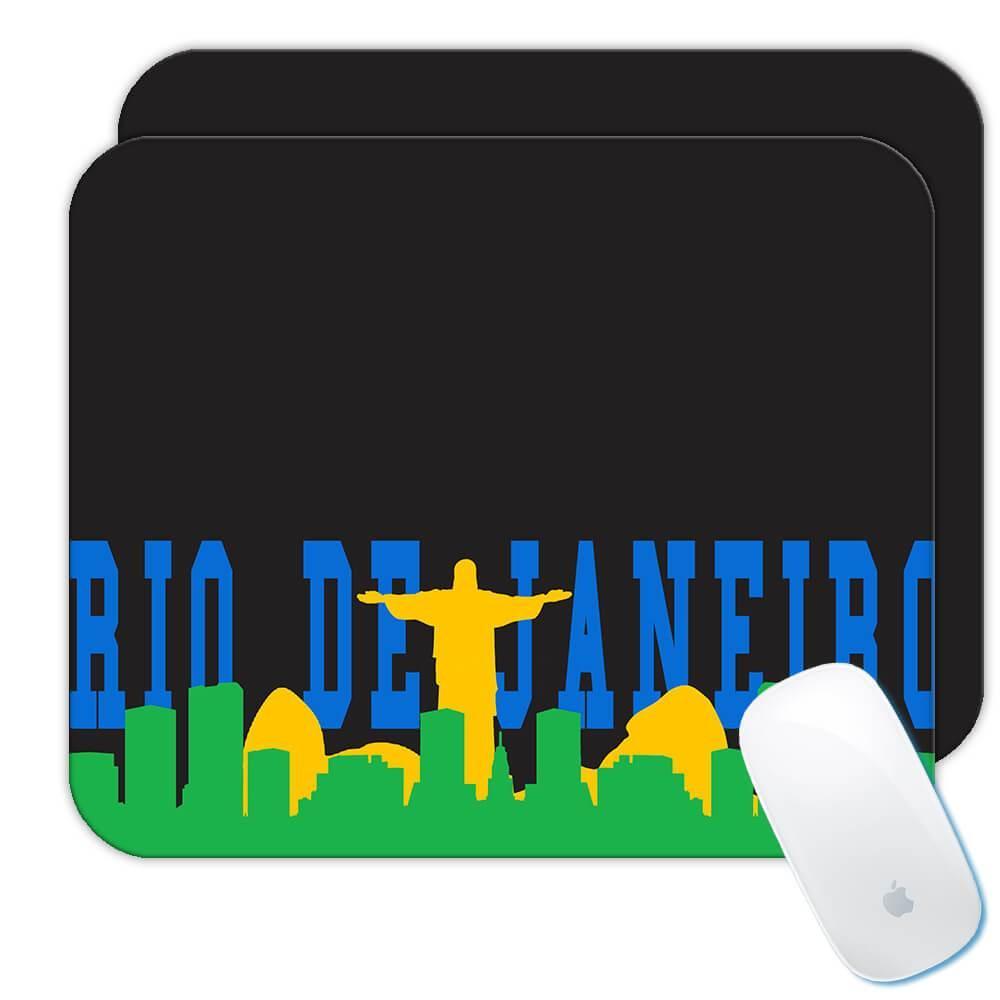 Brazil Rio de Janeiro : Gift Mousepad Brazilian Brasil Skyline Souvenir Country Flag
