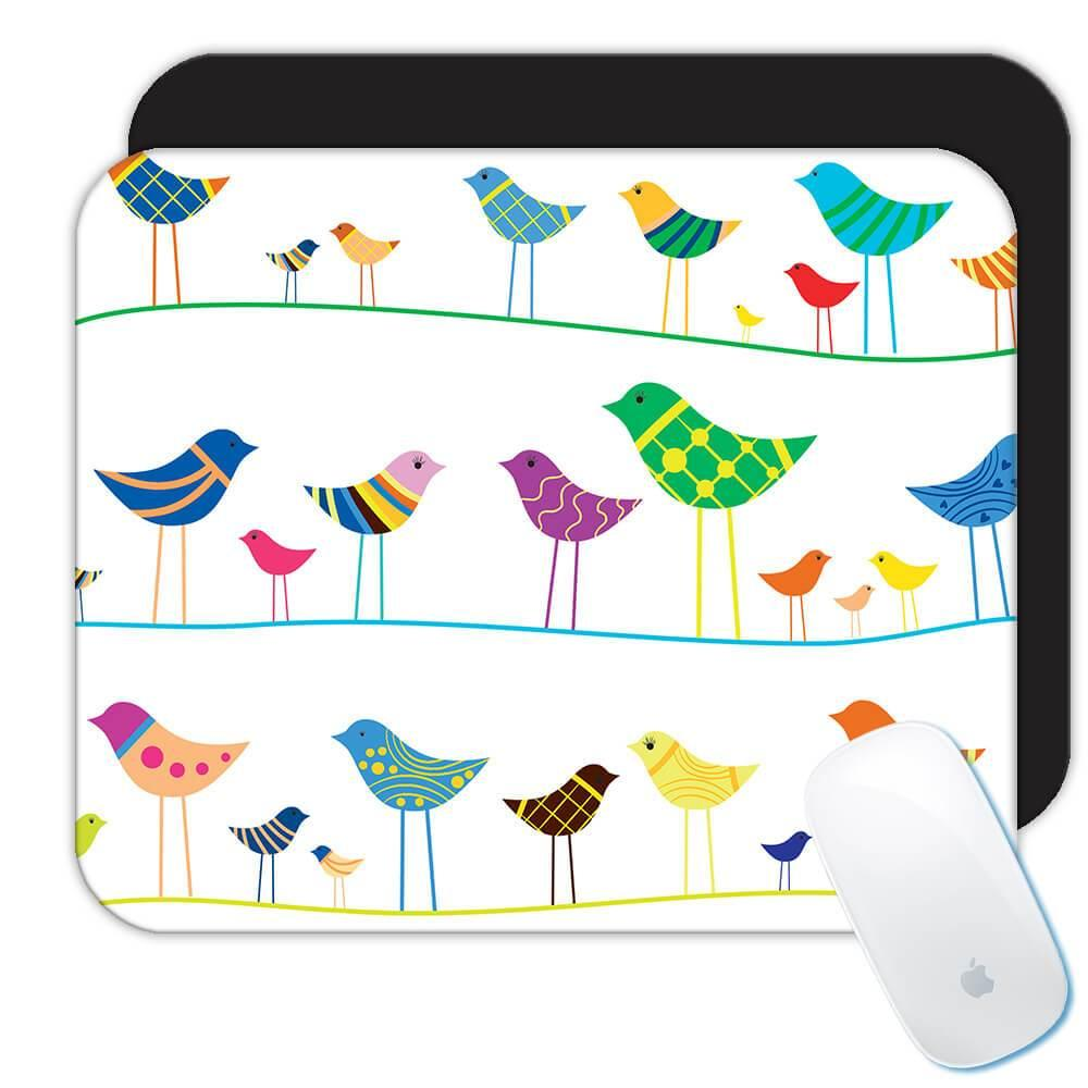 Birds on a Wire : Gift Mousepad String Animal Cute Nature Watcher Watching Bird Lover