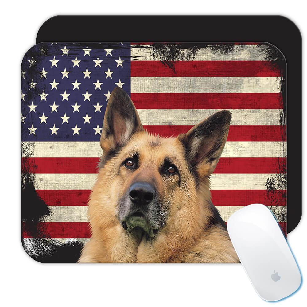 German Shepherd USA Flag : Gift Mousepad Dog Pet K-9 United Police America