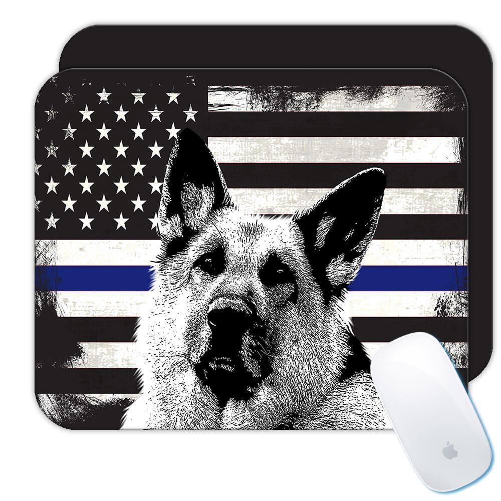 Police K-9 German Shepherd : Gift Mousepad USA Flag Blue Thin Line Dog America
