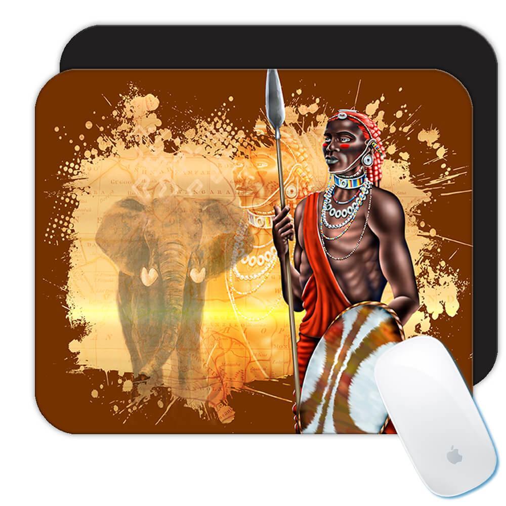African Men Warrior : Gift Mousepad Ethnic Art Black Culture Ethno Elephant
