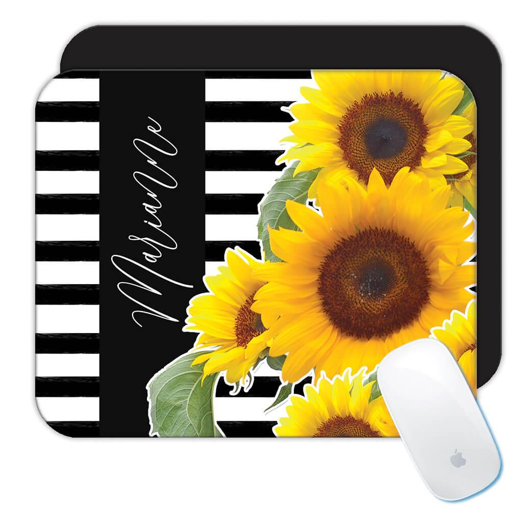 Sunflower Stripes Personalized Name : Gift Mousepad Flower Floral Yellow Decor
