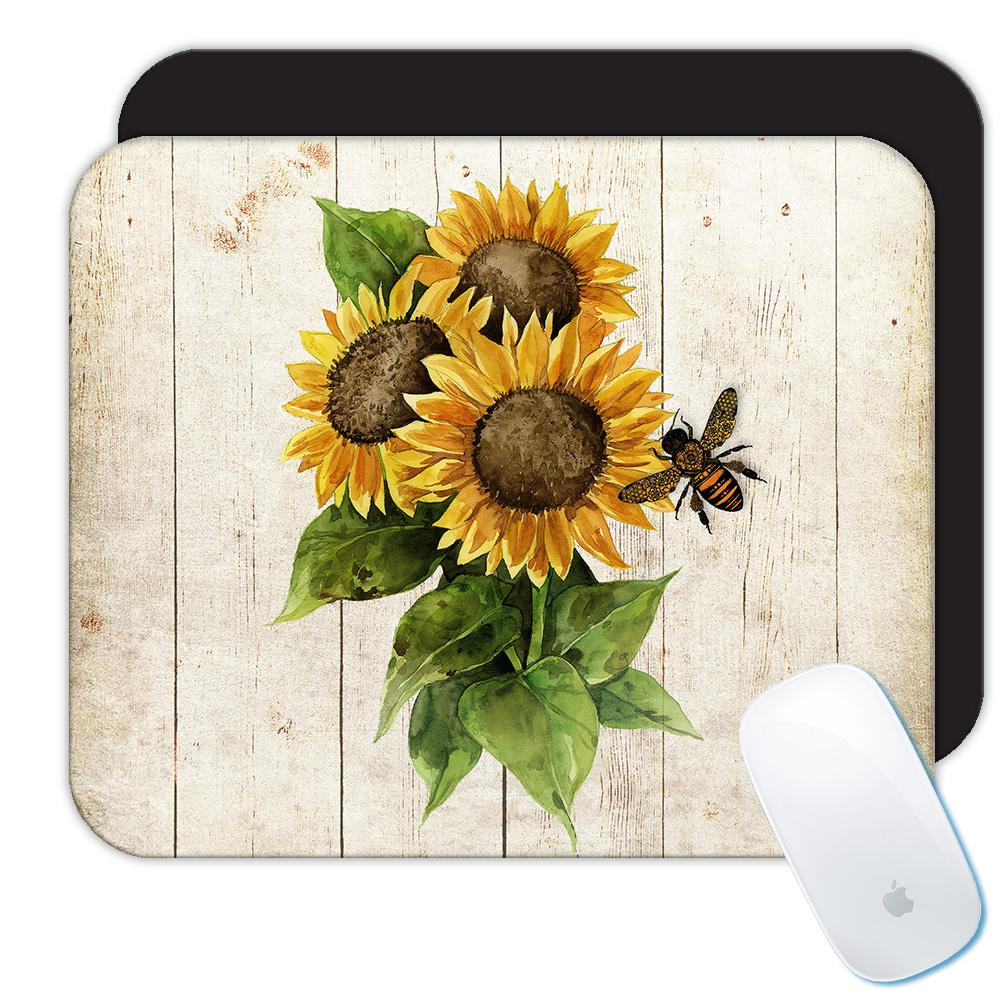 Sunflower Vintage Bee : Gift Mousepad Flower Floral Yellow Decor Painting