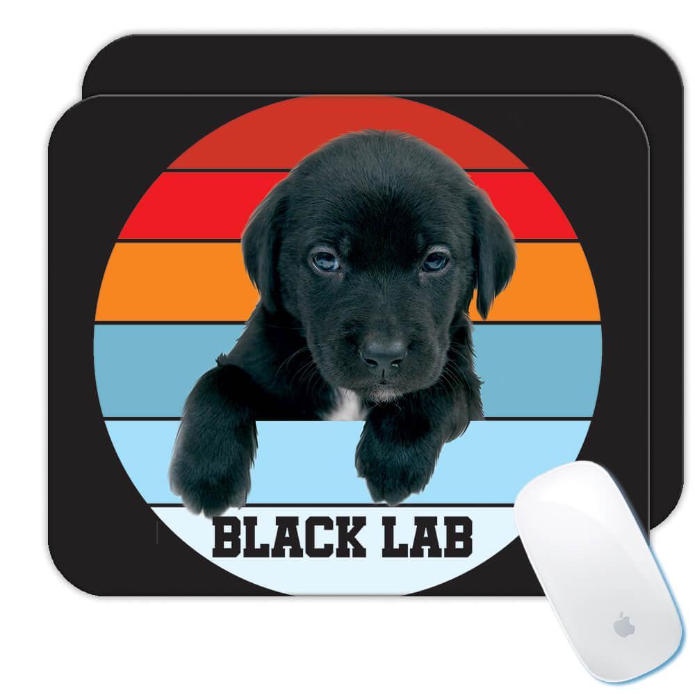 Black Labrador Lab : Gift Mousepad Retro Gradient Pet Dog Animal Retro Canine Pets Dogs