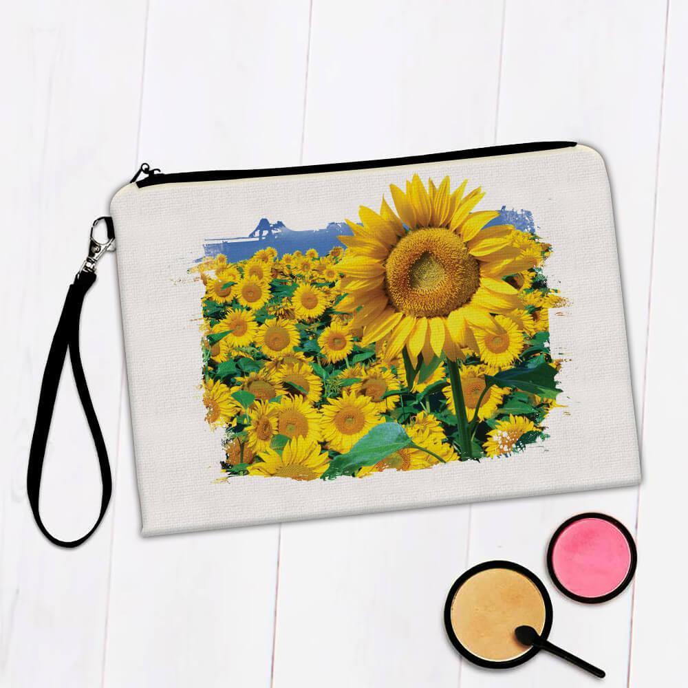 Sunflower Field : Gift Makeup Bag Flower Floral Yellow Decor
