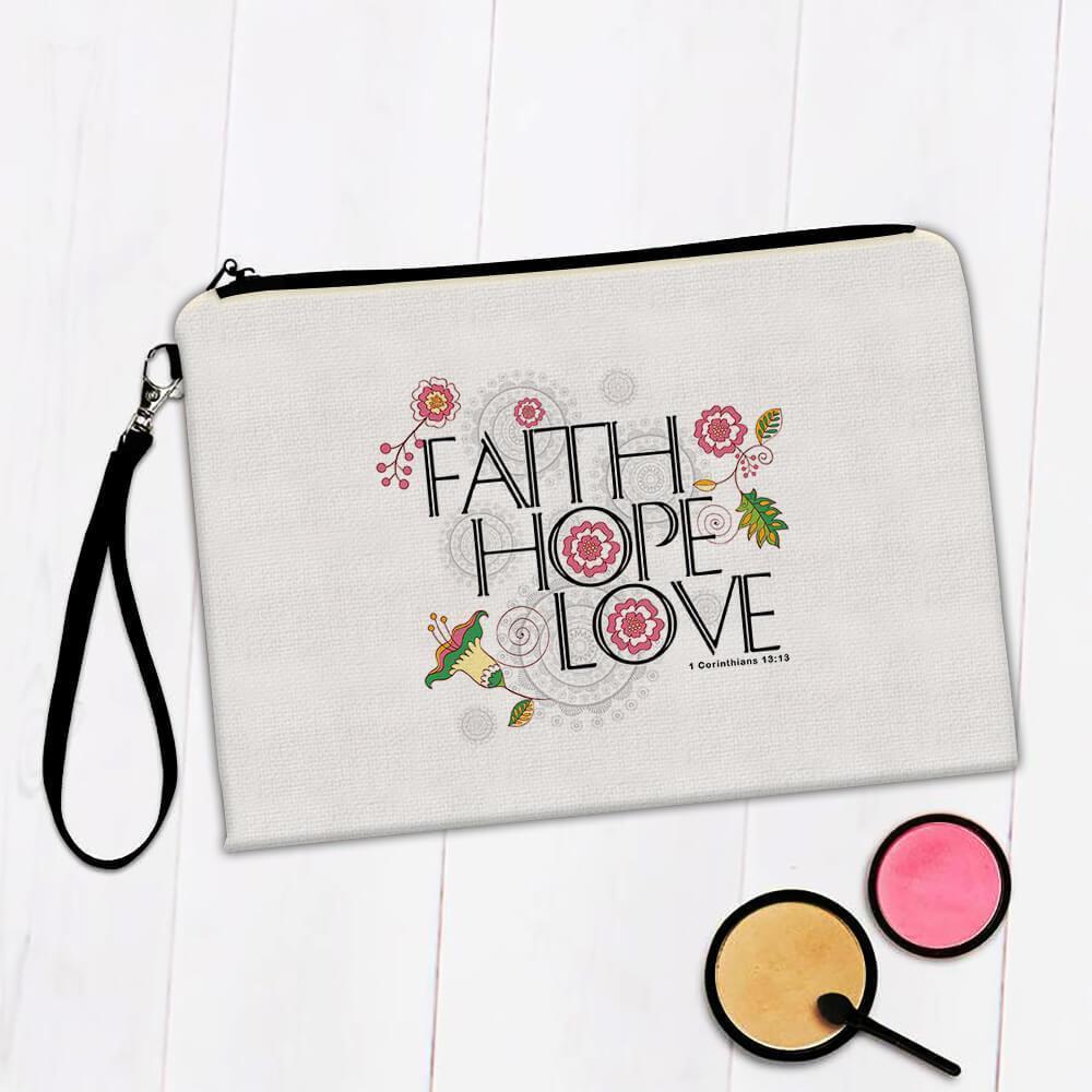 Faith Hope Love : Gift Makeup Bag Christian Religious Catholic Jesus God