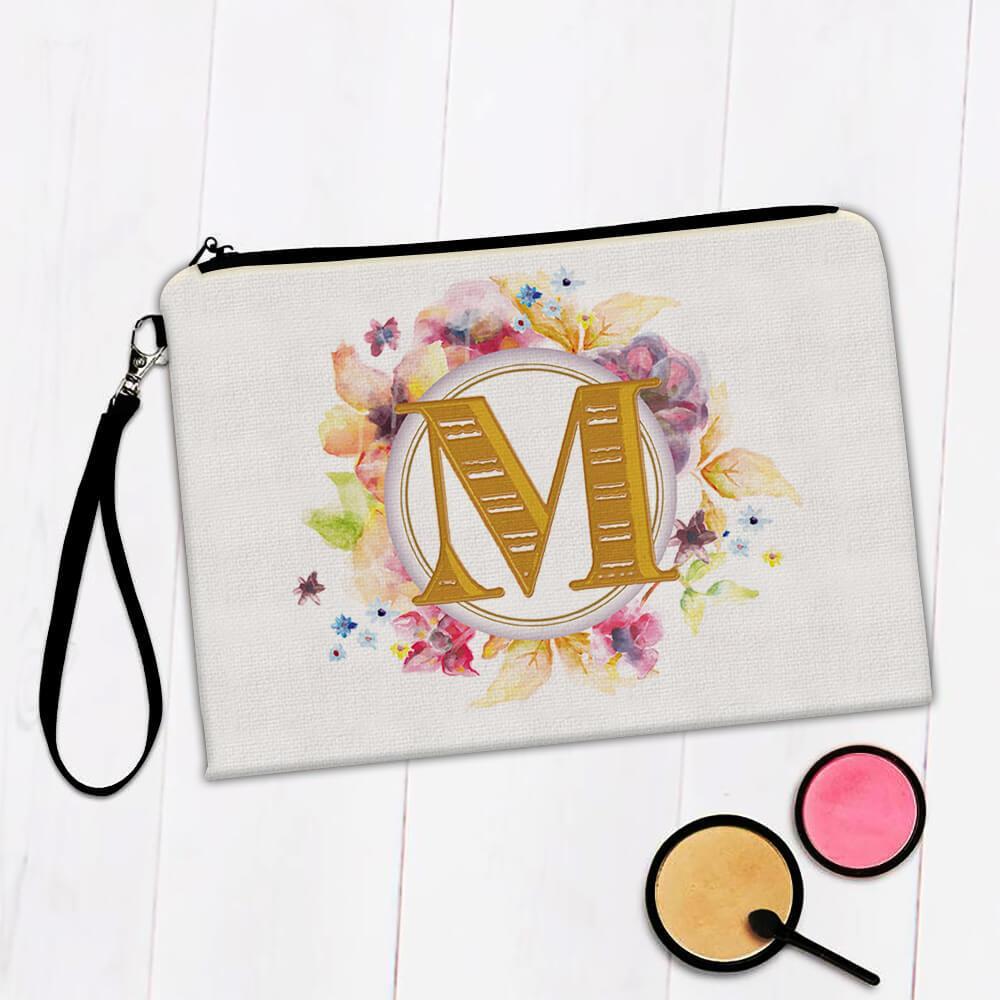 Monogram Letter M : Gift Makeup Bag Name Initial Alphabet ABC