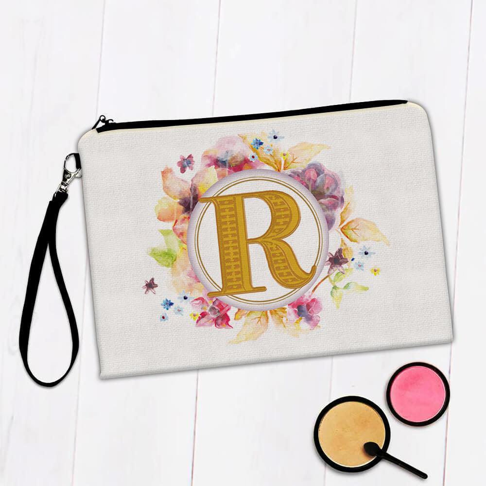Monogram Letter R : Gift Makeup Bag Name Initial Alphabet ABC