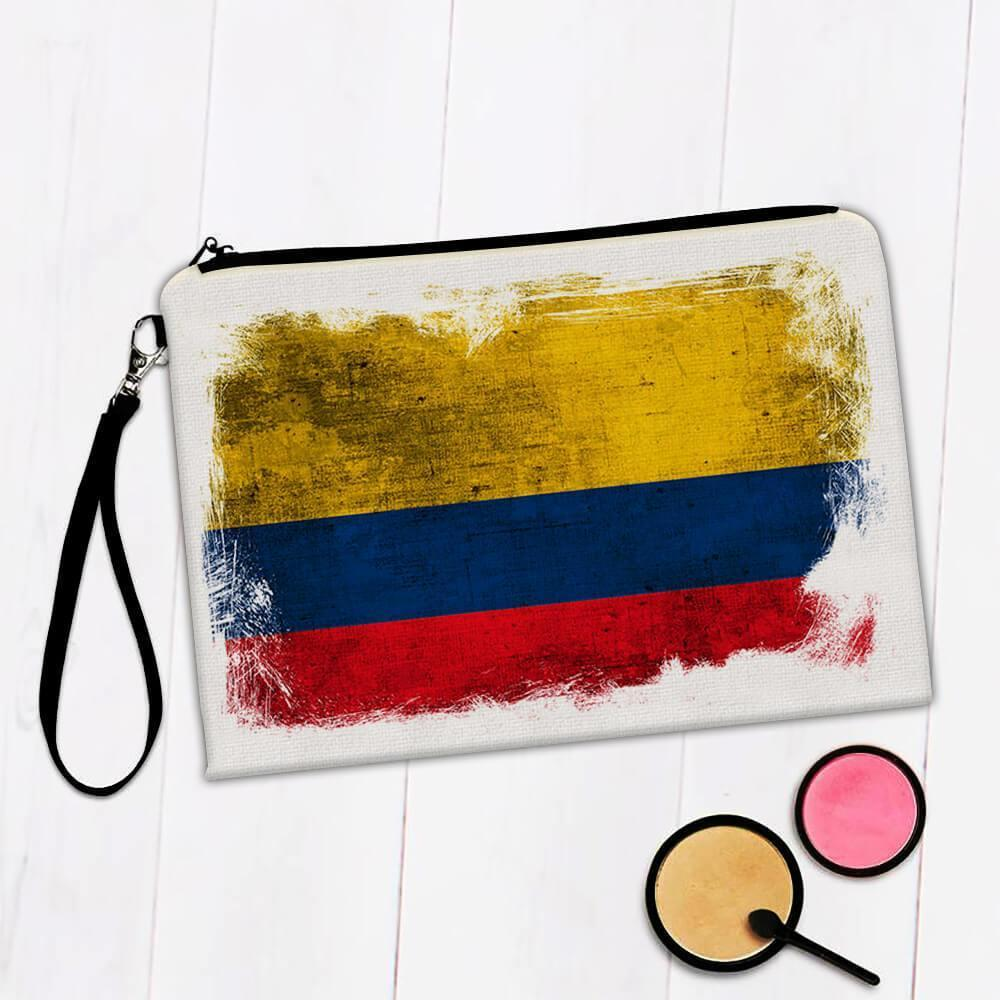 Colombia : Gift Makeup Bag Distressed Flag Vintage Colombian Expat Country
