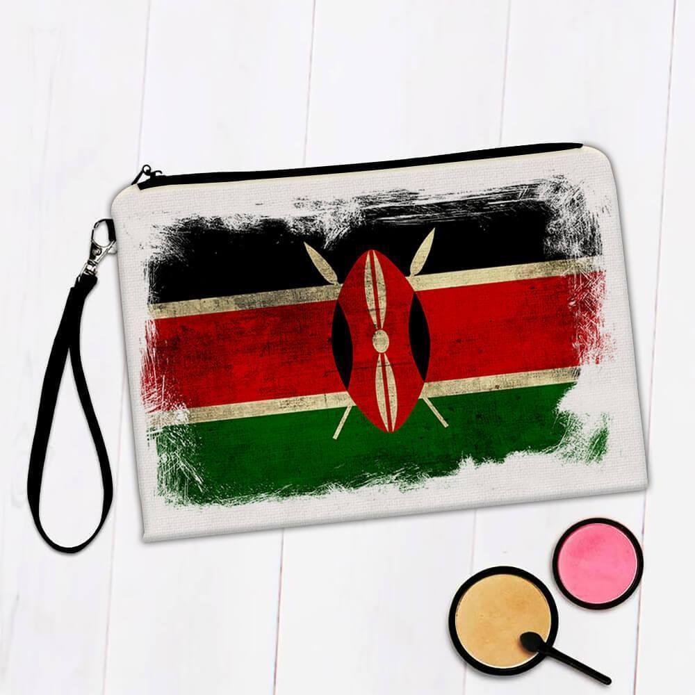 Kenya : Gift Makeup Bag Distressed Flag Vintage Kenyan Expat Country