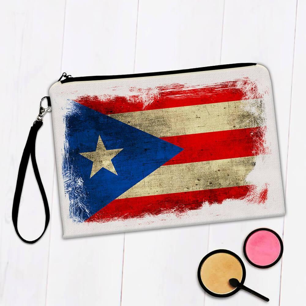 Puerto Rico : Gift Makeup Bag Distressed Flag Vintage Puerto Rican Expat Country
