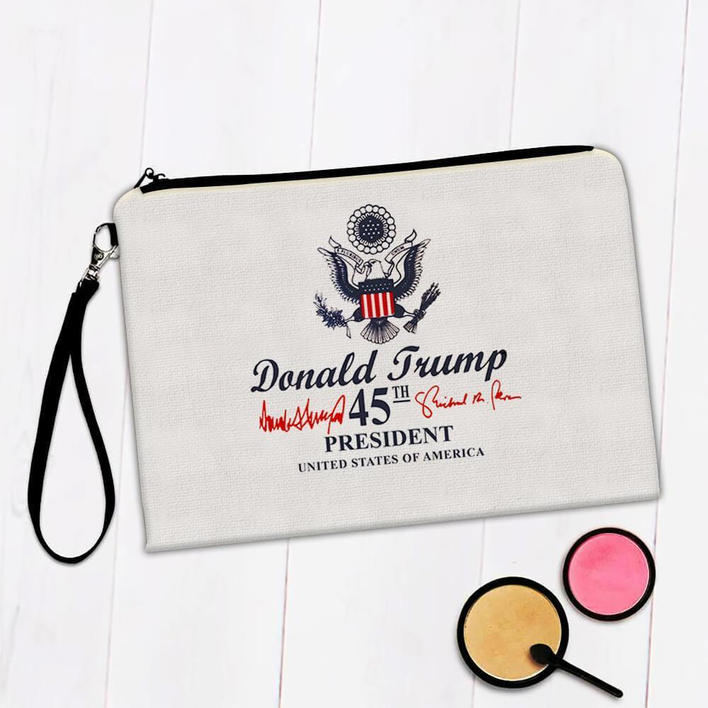 Donald Trump 45th President : Gift Makeup Bag USA Crest Flag Eagle Presidential Seal