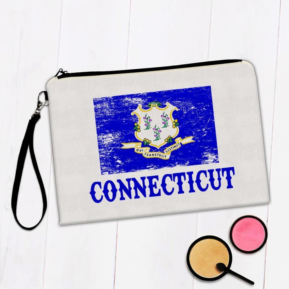 Connecticut : Gift Makeup Bag Flag Distressed Souvenir State USA Christmas Birthday